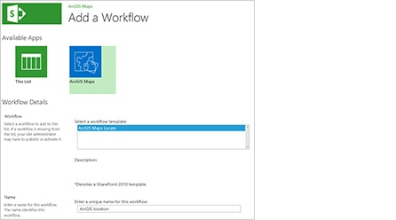 Screenshot of adding a workflow in ArcGIS Maps for Microsoft Sharepoint