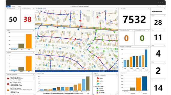 Screenshot of analytics dashboard for mapping data
